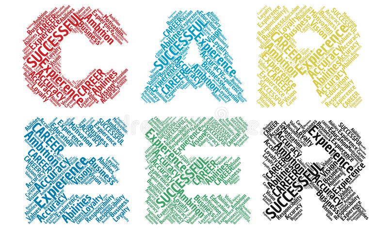 Le nuage de mot de carrière marque avec des lettres l'alphabet illustration de vecteur