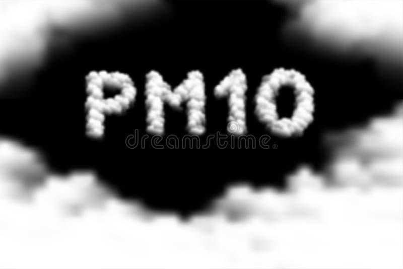 Le nuage des textes de P.M. 10 ou le modèle de fumée, illustration de conception de l'avant-projet de la poussière de pollution a illustration de vecteur