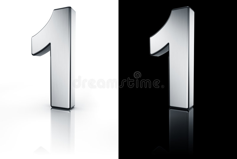 Le numéro 1 sur l'étage blanc et noir illustration de vecteur