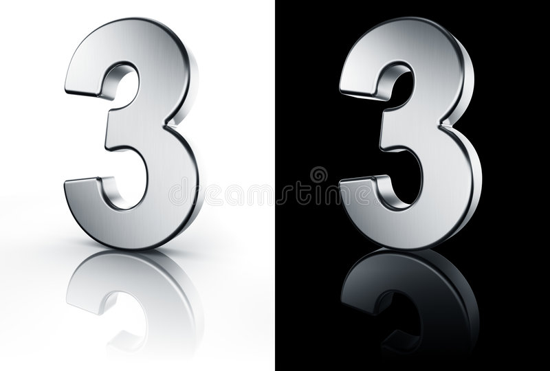 Le numéro 3 sur l'étage blanc et noir illustration de vecteur