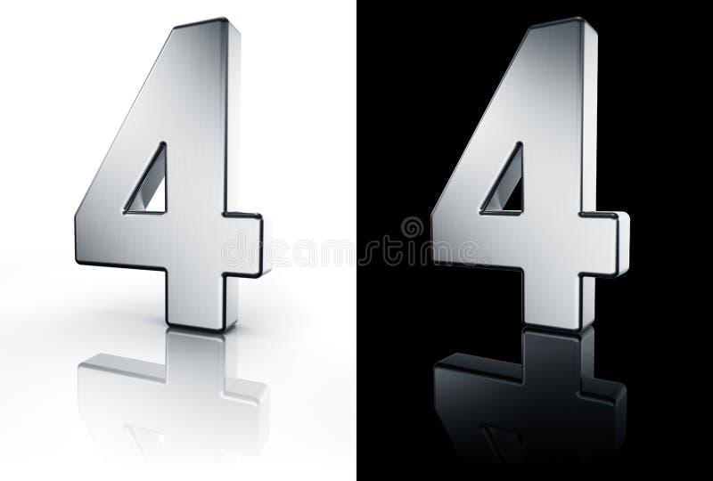 Le numéro 4 sur l'étage blanc et noir illustration de vecteur