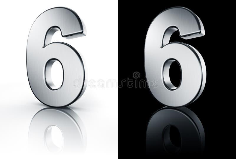Le numéro 6 sur l'étage blanc et noir illustration stock