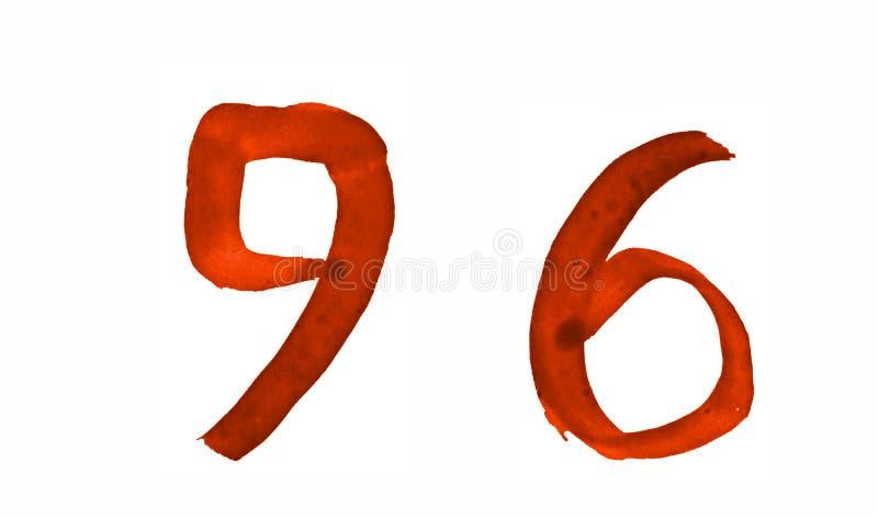 Le numéro 96, peint avec une brosse dans l'aquarelle Symbole de vintage illustration libre de droits