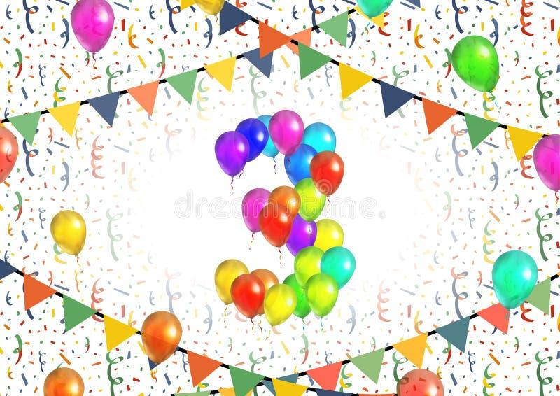 Le numéro trois a composé des ballons colorés lumineux sur le fond blanc avec des confettis illustration stock