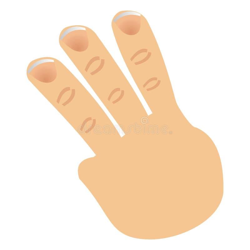 Le numéro trois a effectué avec des doigts illustration stock