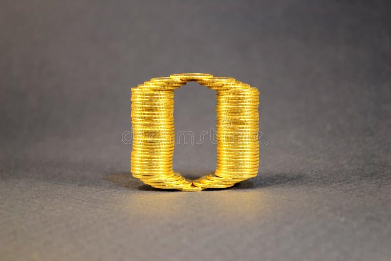 Le numéro zéro a construit des pièces de monnaie photos libres de droits