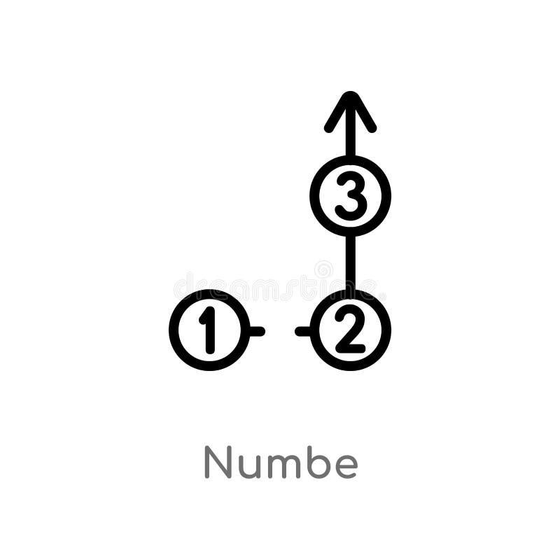 le numbe d'ensemble dirigent l'icône ligne simple noire d'isolement illustration d'élément de concept d'infographics numbe editab illustration libre de droits