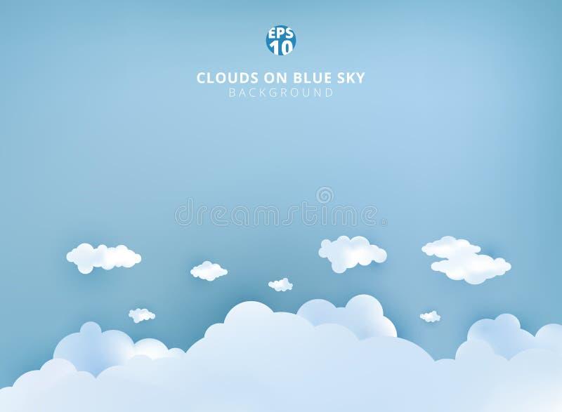Le nuvole bianche sul fondo pastello del cielo blu progettano l'arte di carta e illustrazione di stock