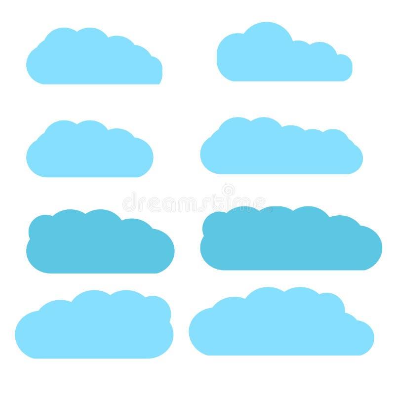 Le nuvole hanno messo isolato su fondo bianco Raccolta delle nuvole per il sito Web, il manifesto, il cartello e la carta da para illustrazione di stock