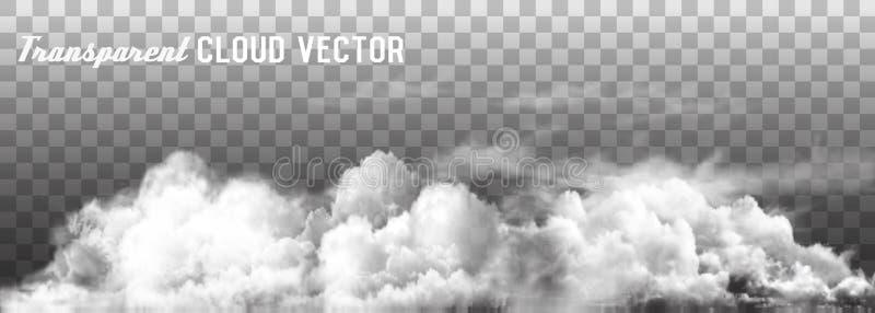 Le nuvole vector su fondo trasparente illustrazione di stock