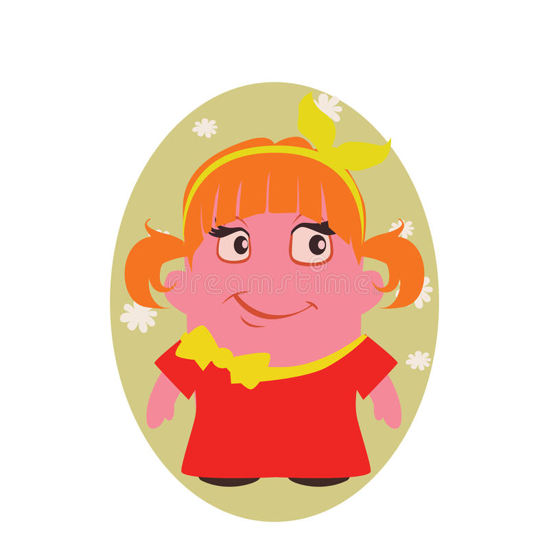Le och lycklig smila skönhetAvatar av lilla Person Cartoon Character i plan vektor royaltyfri illustrationer