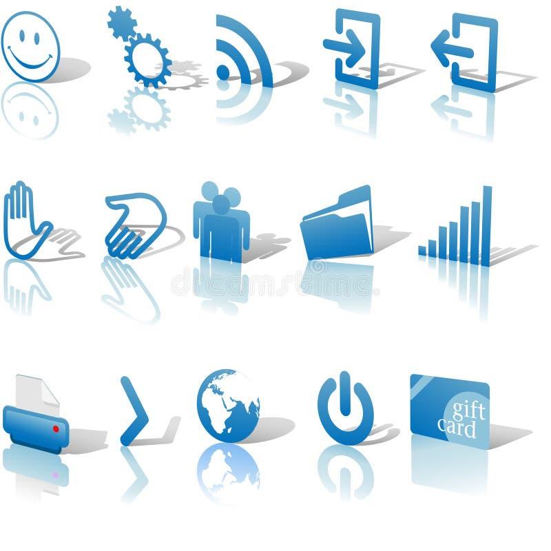 Le ombre blu di Relects delle icone di Web hanno impostato 2 illustrazione vettoriale