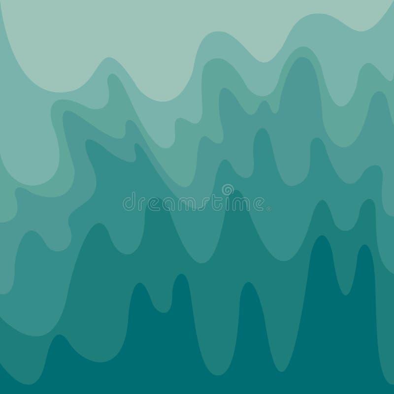 Le onde astratte strutturano, fondo di colori dell'acquamarina di pendenza delle tonalità Illustrazione ondulata di vettore forma illustrazione vettoriale