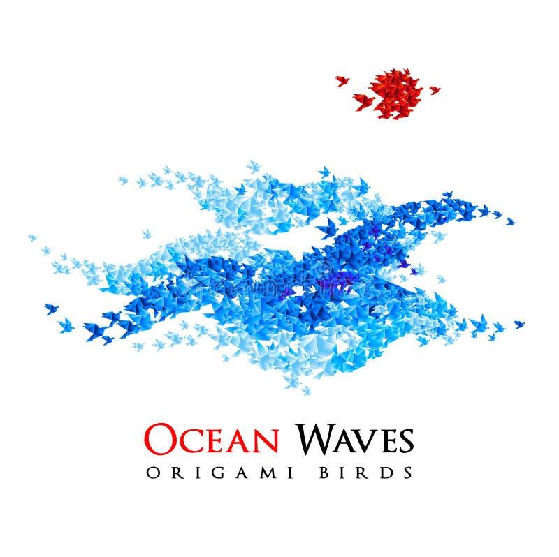 Le onde di origami hanno modellato dagli uccelli della carta di volo - vettore illustrazione di stock