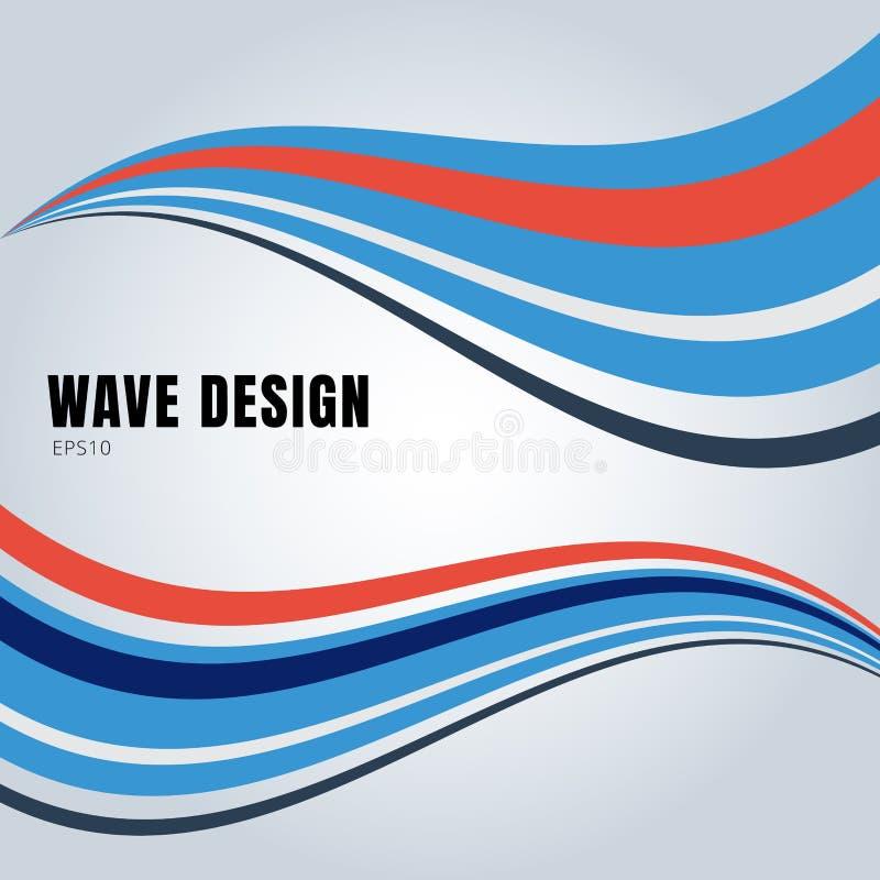 Le onde liscie astratte di colore blu e rosso progettano su fondo bianco illustrazione vettoriale