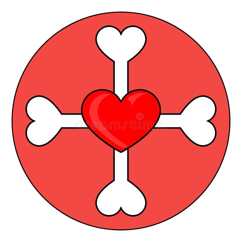 Le ossa attraversano con cuore nel cerchio illustrazione vettoriale