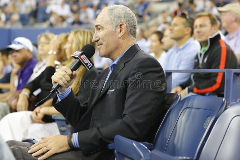Le osservazioni di Brad Gilbert dell'analista di ESPN abbinano fra Serena Williams e Taylor Townsend all'US Open 2014 fotografia stock
