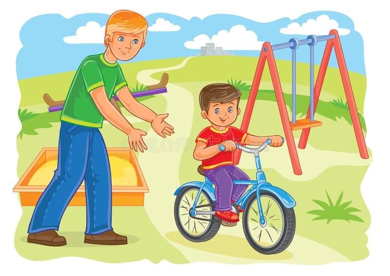 Le père enseigne à monter un petit garçon de vélo illustration libre de droits