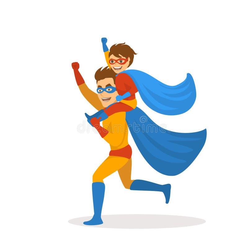 Le père et le fils jouant des super héros se sont habillés dans des costumes fonctionnant ensemble, garçon s'asseyant sur des épa illustration libre de droits