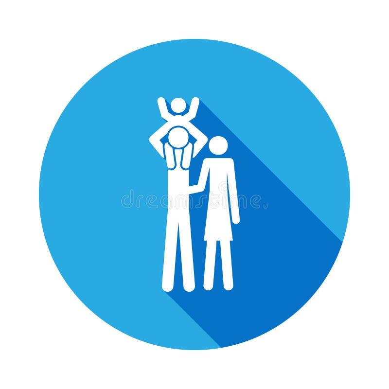 le père garde l'enfant sur son icône d'épaules Élément d'illustration de personnes mariée par vie Signes et icône de collection d illustration stock