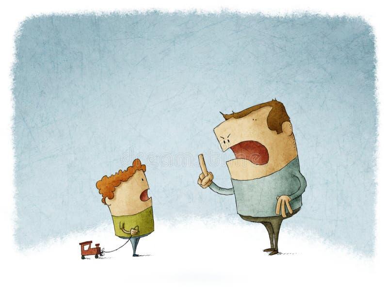 Le père grondent et crient à son fils illustration libre de droits