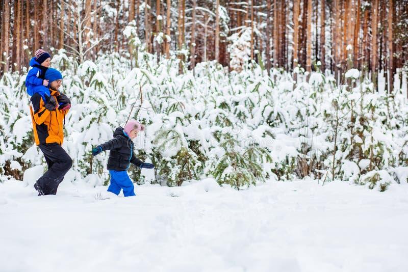 Le père marche avec ses enfants en bas âge dans les bois en hiver images stock