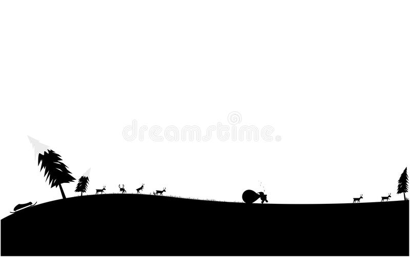 Le père noël avec le cadeau et le renne sur le chemin au réveillon de Noël image stock