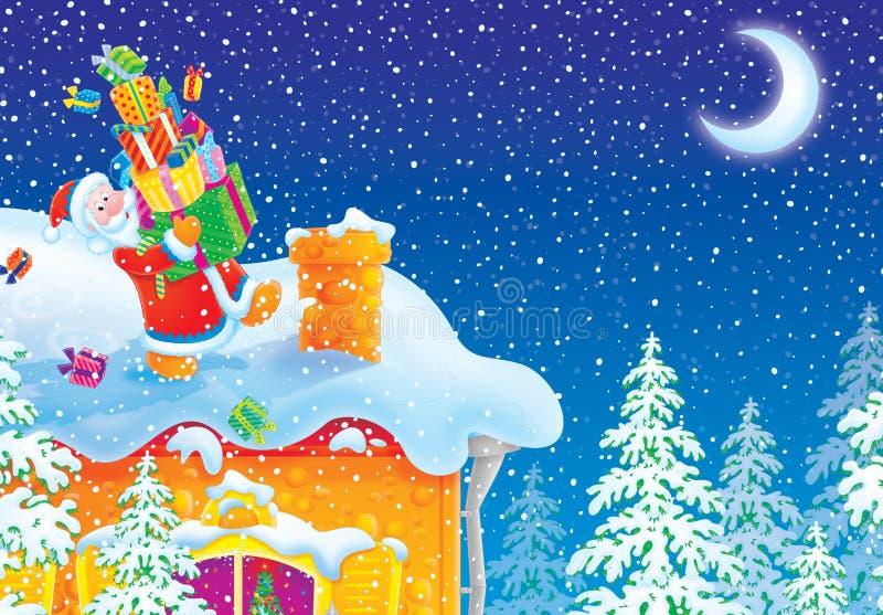 Le père noël avec des cadeaux de Noël va à la cheminée o illustration de vecteur