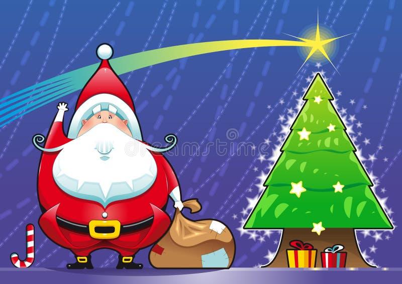 Le père noël avec l'arbre de Noël. illustration libre de droits