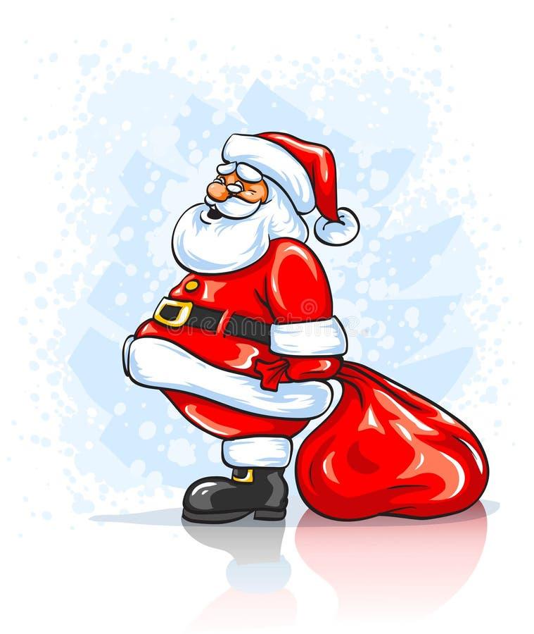 Le père noël avec le grand sac rouge de cadeaux de Noël illustration stock