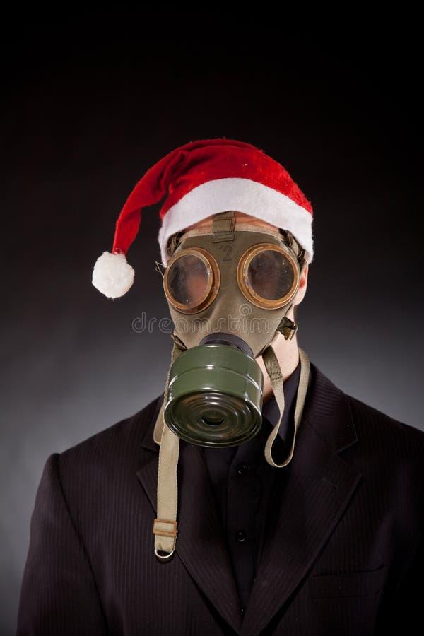 Le père noël avec le masque de gaz photos libres de droits