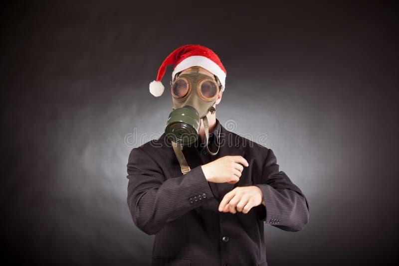 Le père noël avec le masque de gaz photo stock