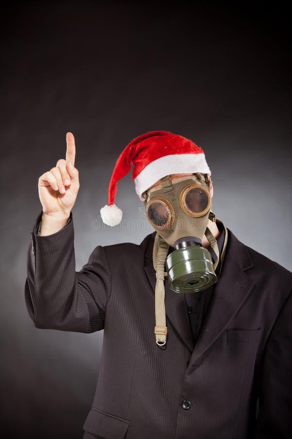 Le père noël avec le masque de gaz image stock