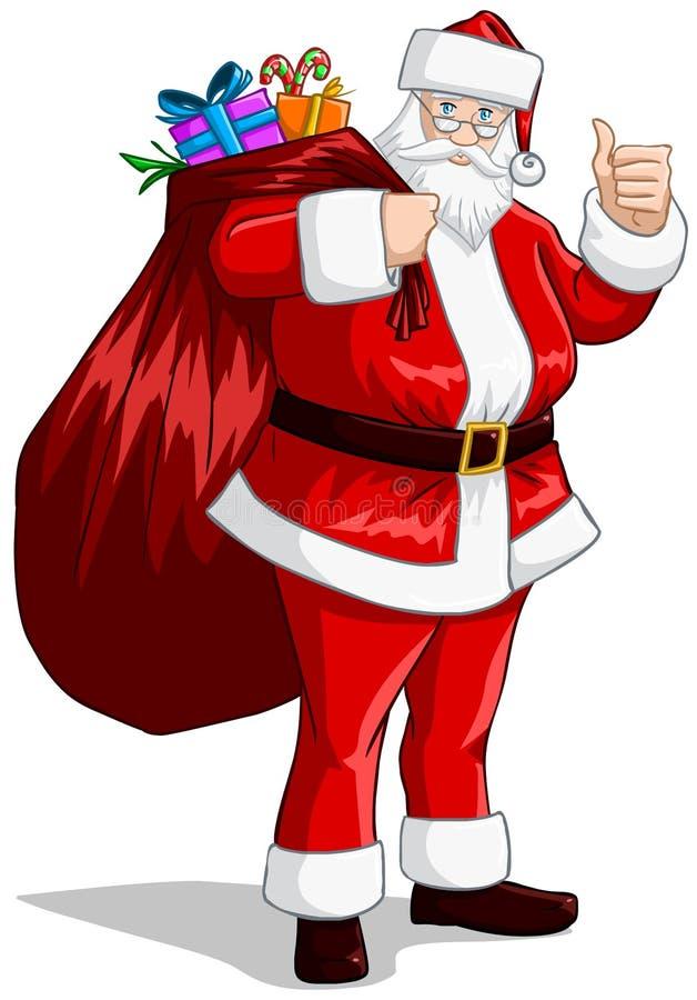 Le père noël avec le sac des présents pour Noël illustration stock