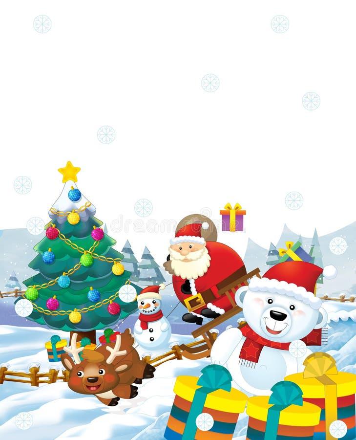 Le père noël avec le sac plein des présents - cadeaux - arbre de Noël - bonhomme de neige heureux de renne - chr illustration libre de droits
