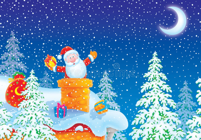 Le p re no l a coll dans la chemin e sur le toit illustration stock illustration du pr sents - Pere noel dans la cheminee ...