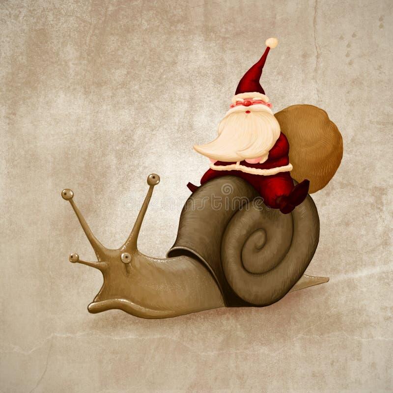 Le père noël conduit un escargot illustration de vecteur