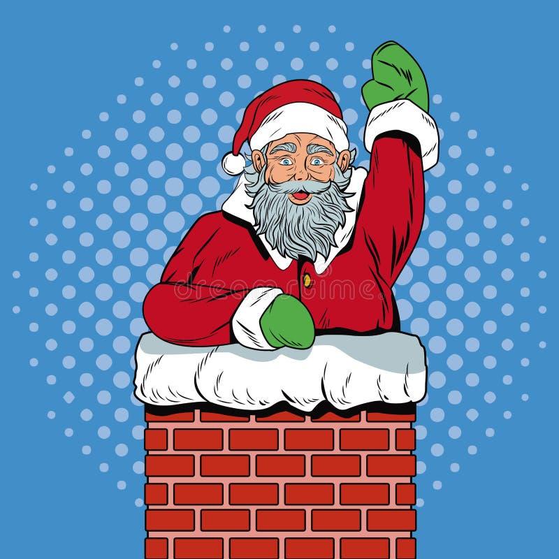 Le père noël dans l'art de bruit de Noël de cheminée illustration stock