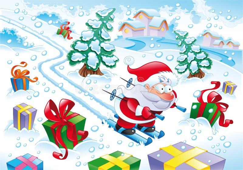 Le père noël dans la neige illustration de vecteur