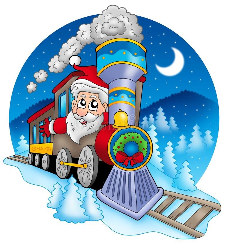 Le père noël dans le train illustration stock