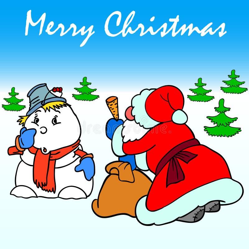 Le père noël et bonhomme de neige illustration stock