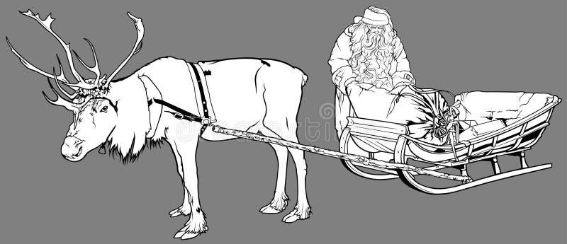 Le père noël et renne illustration stock