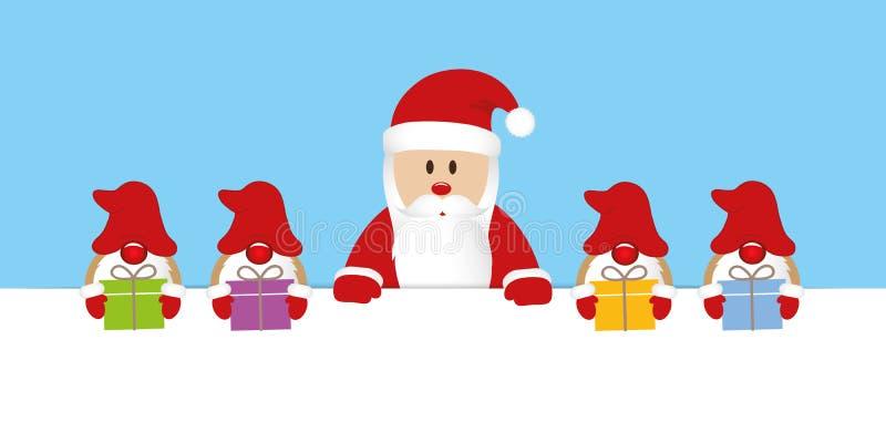 Le père noël et son gnome d'aide avec la bande dessinée de Noël de cadeaux illustration de vecteur