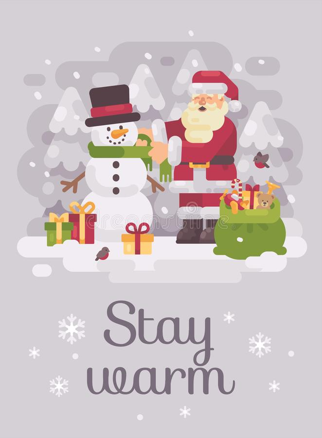 Le père noël heureux donnant une écharpe à un bonhomme de neige mignon Carte de voeux plate d'illustration de Noël illustration stock