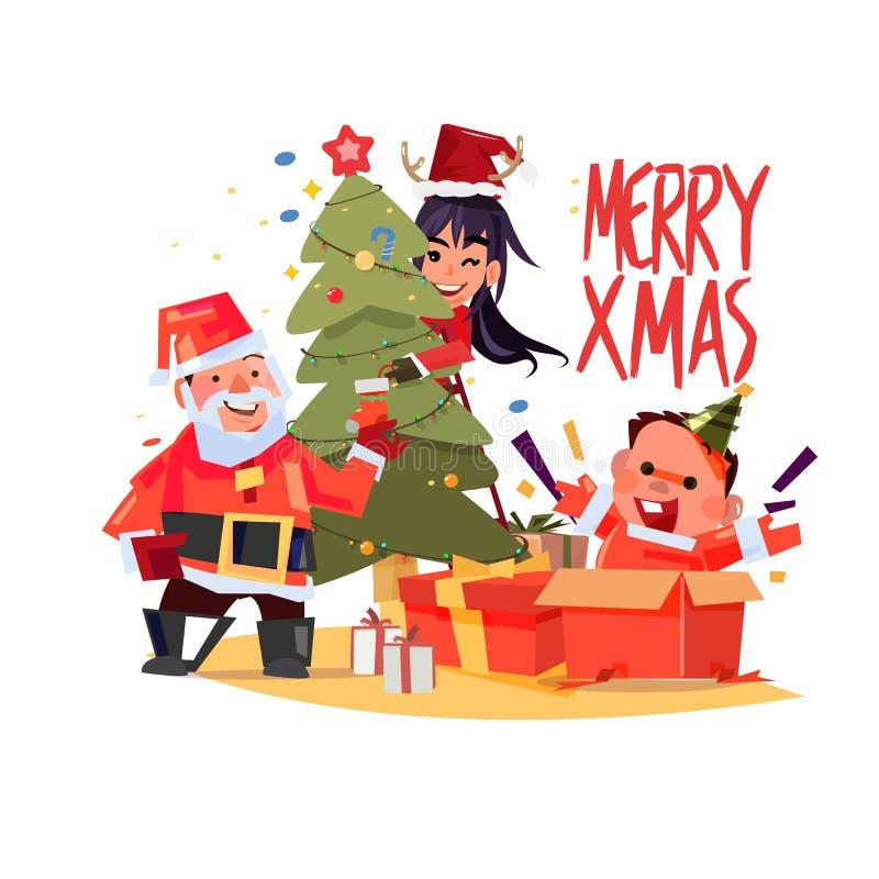 Le père noël, homme et femmes décorant l'arbre de Noël bébé heureux dans la boîte actuelle, conception de personnages de famille  illustration de vecteur