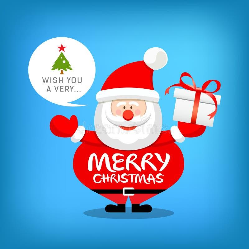 Le père noël, message de Joyeux Noël avec le boîte-cadeau illustration libre de droits