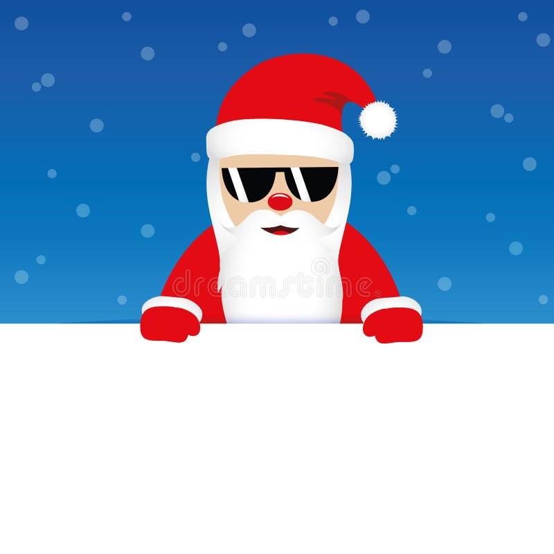 Le père noël mignon heureux avec des lunettes de soleil sur le fond neigeux bleu illustration libre de droits