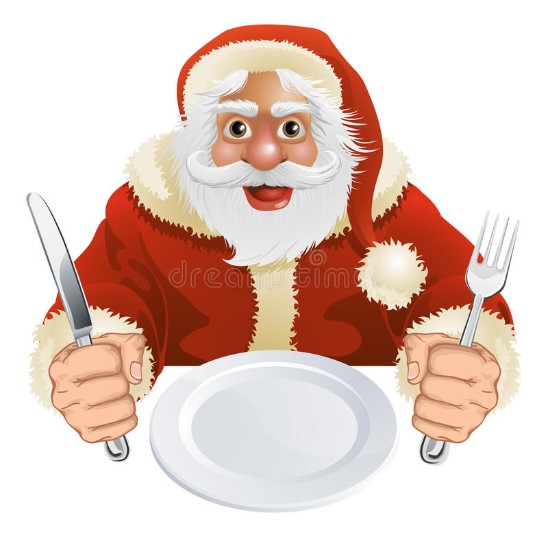 Le père noël s'est enfoncé pour le dîner de Noël illustration libre de droits