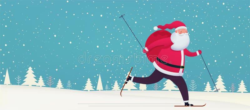 Le Père Noël skie avec un sac de cadeaux sur fond enneigé Bannière Joyeux Noël et Bonne Année illustration libre de droits