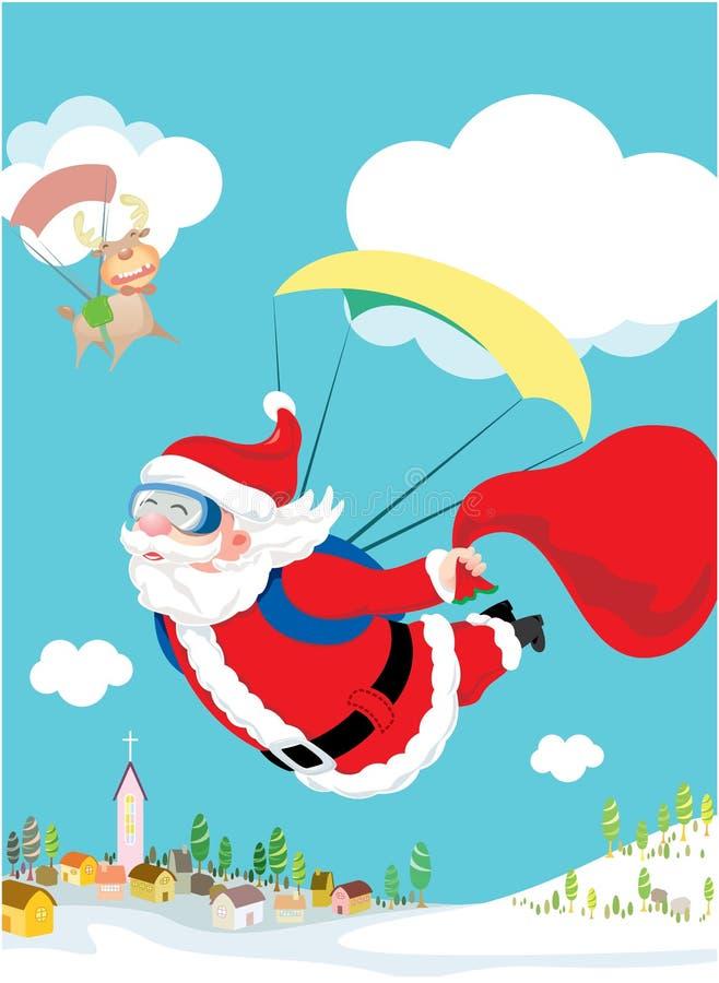 Le père noël skydiving avec son deliv de cerfs communs et de cadeau illustration stock